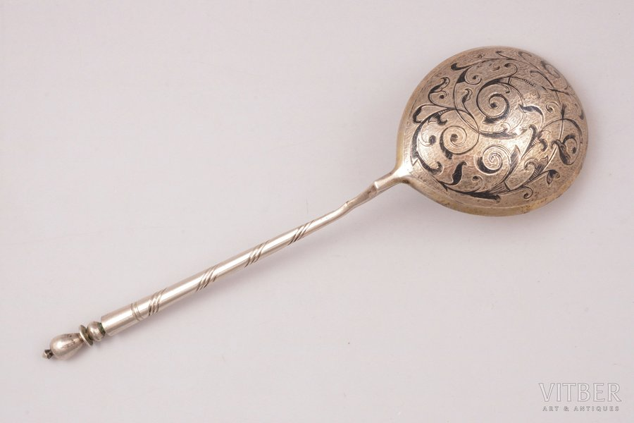 spoon, silver, 84 standart, niello enamel, 1863, 52.50 g, by A. Vasiliev, Moscow, Russia, 18.1 cm
