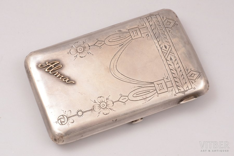 cigarette case, silver, 84 standart, engraving, gilding, with gold inner detail, 1908-1917, 131.95 g, by Vasily Sikachev, Moscow, Russia, 11.1 x 7 x 1.6 cm