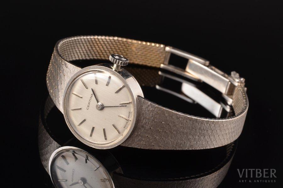 """wristwatch, """"Certina"""", Switzerland, gold, 750 standart, 24.67 g, Ø 19 mm, watch band lenghth 16 cm"""