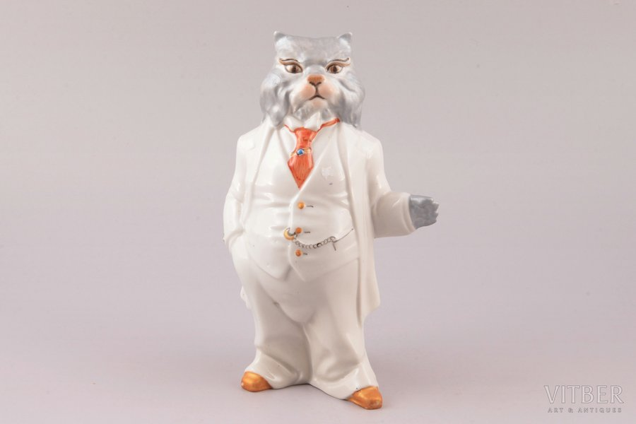 figurine, Mr. Сat, porcelain, Ukraine, Korosten Porcelain Factory, molder - A.G. Shevchenko, the 90ies of 20th cent., 18.3 cm, first grade
