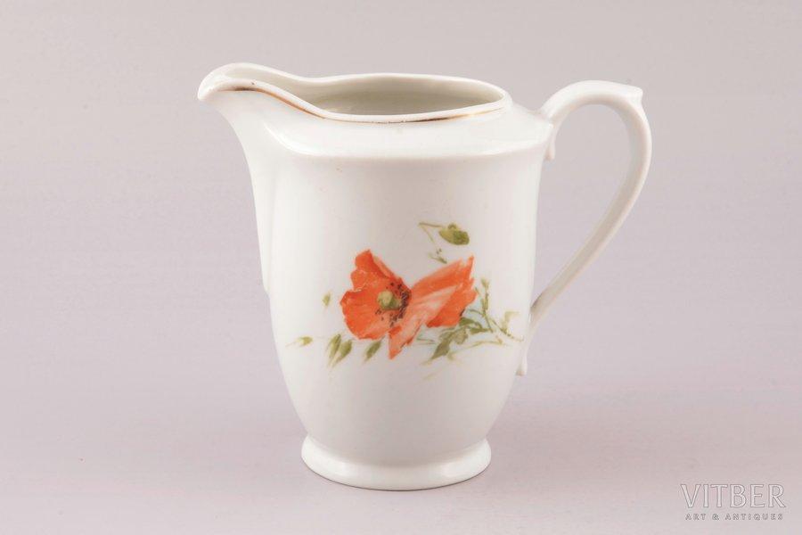 cream jug, porcelain, Langebraun, Estonia, the 20-30ties of 20th cent., the 30-40ties of 20th cent., h 12.3 cm
