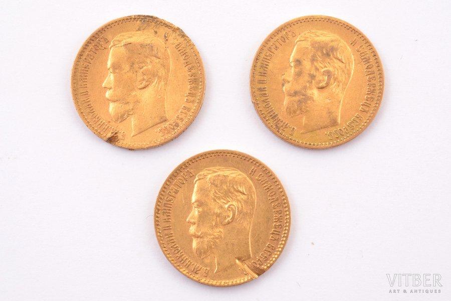 5 rubles, 1898-1900, AG, FZ, 3 coins, gold, Russia, 4.28 / 4.23 / 4.27 g, Ø 18.6 mm