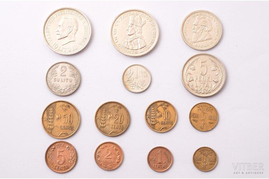 a set, 14 coins of Lithuania: 10 litu - Antanas Smetona (1938), 5 silver coins (1925-1936), 8 aluminium-bronze coins (1925-1936), Lithuania