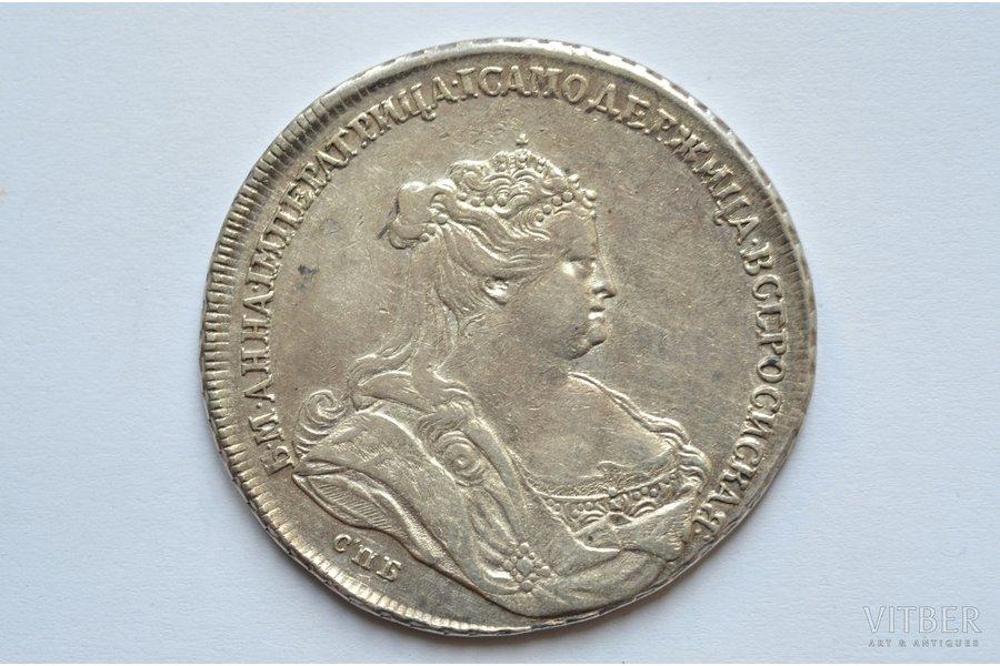 """1 ruble, 1738, SPB, """"R"""", silver, Russia, 25.48 g, Ø 40.8 - 42.4 mm, AU, XF"""