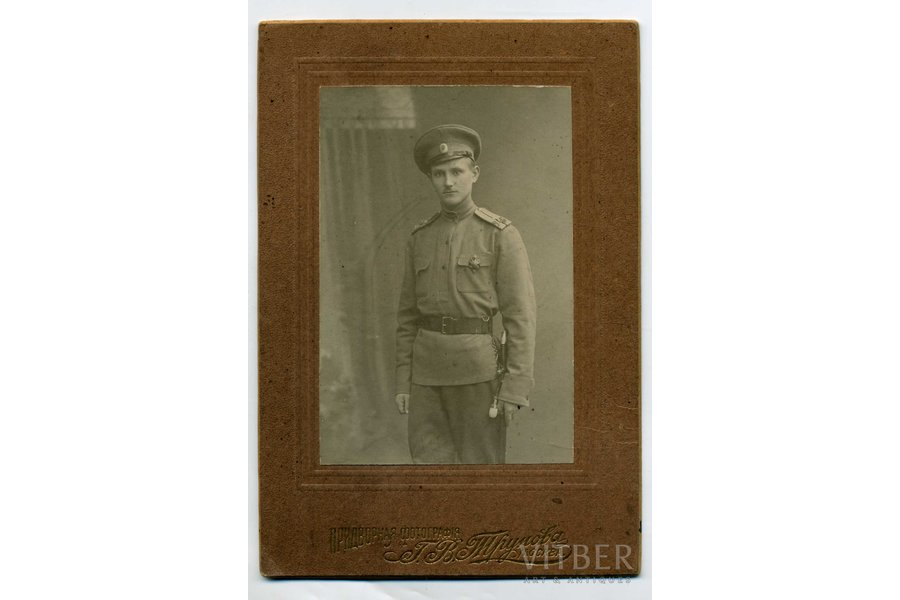 photography, on cardboard, soldier with regimental badge, Russia, beginning of 20th cent., 9x6 cm