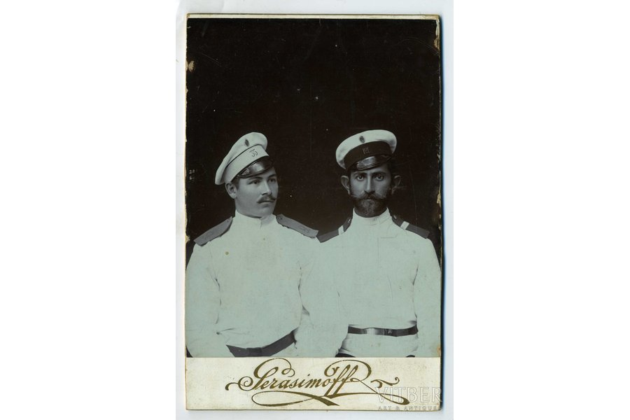 photography, on cardboard, portrait of soldiers, Russia, beginning of 20th cent., 13,8x10,5 cm