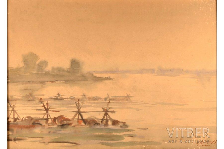 """Eduards Jurkelis (1910-1978), """"Daugava"""", 1960, paper, water colour, 40 x 56 cm"""