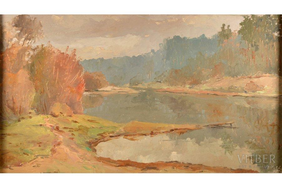 "Kalejs Oskars (1902–1993), ""Gauja"", 1975, carton, oil, 46.5 x 80 cm"