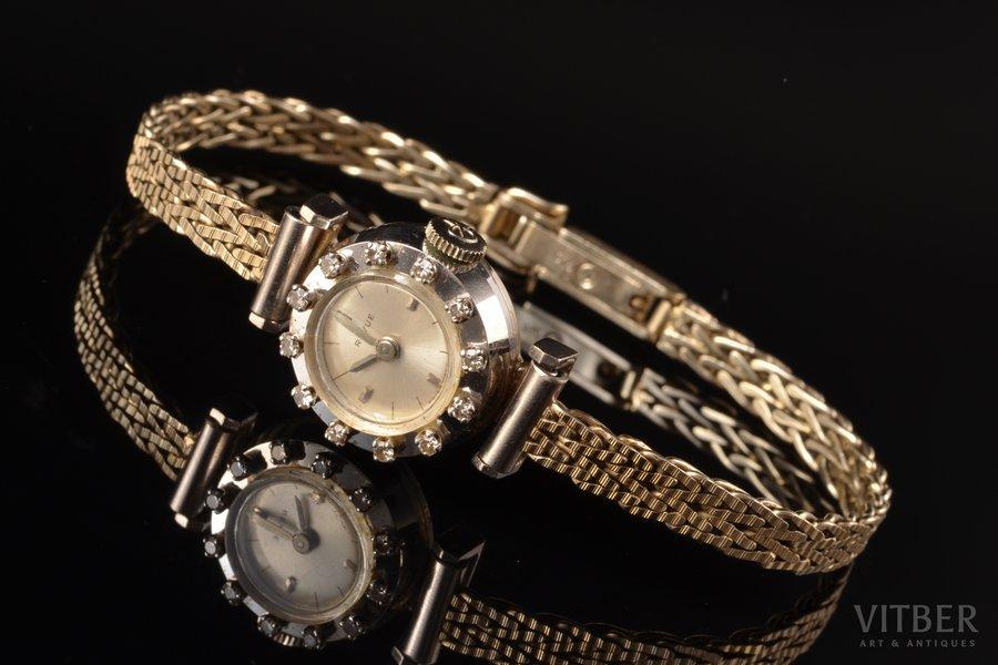"""wristwatch, """"Revue"""", gold, diamonds, 750 standart, 22.35 g, Ø 16 mm, watch band length 18.4 cm"""