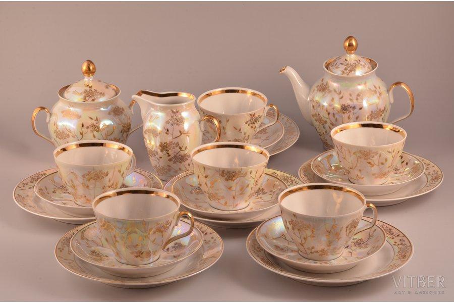 "service, ""Sigulda"", for 6 persons (21 item), porcelain, Rīga porcelain factory, shape by Ēriks Ellers, Riga (Latvia), USSR, the 80ies of 20th cent."