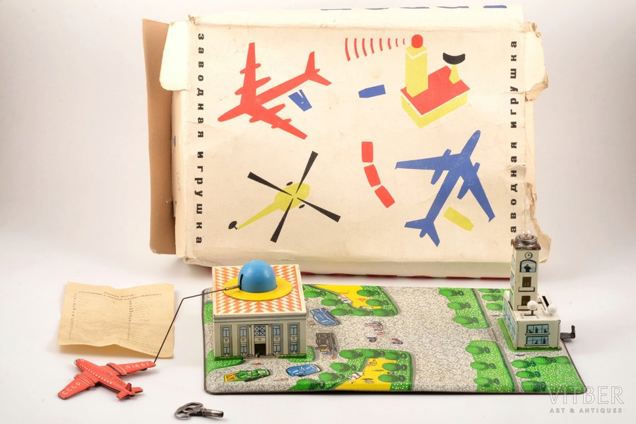 """mechanical toy, """"Airport"""", in a packaging, tin, USSR, in working condition; base size 33.7 x 23.5 cm"""