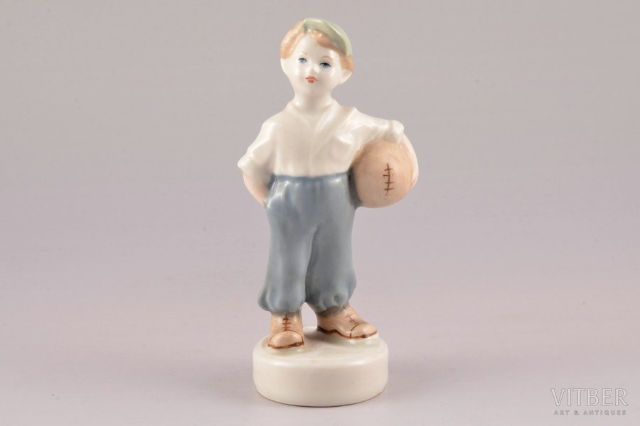 figurine, The young football player, porcelain, Riga (Latvia), USSR, Riga porcelain factory, molder - Zina Ulste, the 50ies of 20th cent., 12.2 cm, first grade