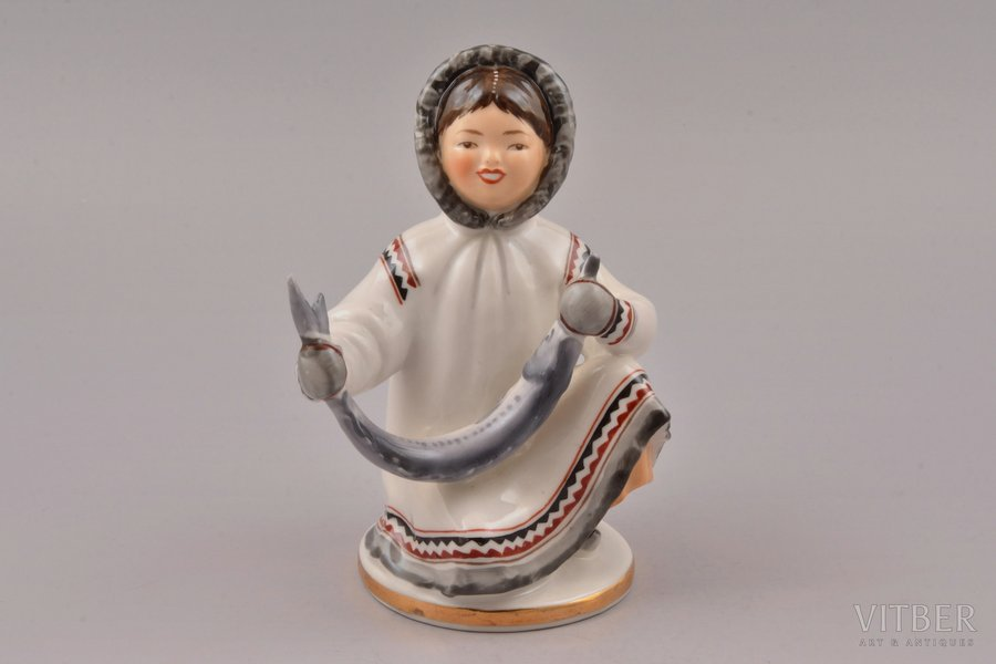 figurine, Yakut girl with fish, porcelain, Russian Federation, LFZ - Lomonosov porcelain factory, molder - S.B. Velihova, h 13.8 cm