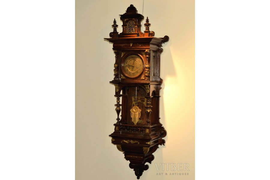 wall clock, wood, 115 x 39 x 21 cm, dial diameter 14 cm; in working condition