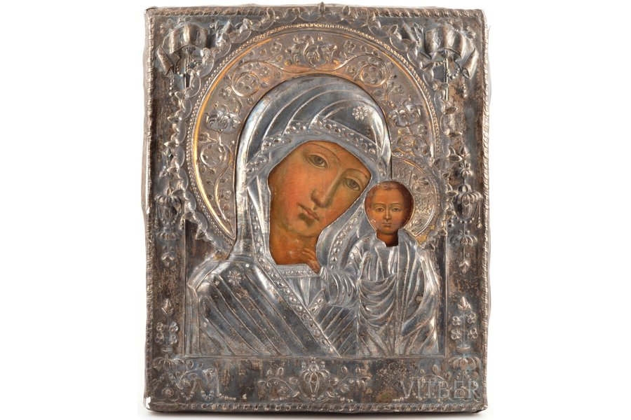 icon, 84 STANDART, icon of the Mother of God, board, silver, oklad weight 520.79 g., painting, Russia, 31.7 x 27 x 3.4 cm, without hallmarks, wreath made of metal made of metal containing silver, metal analysis performed in Latvian Assay Office
