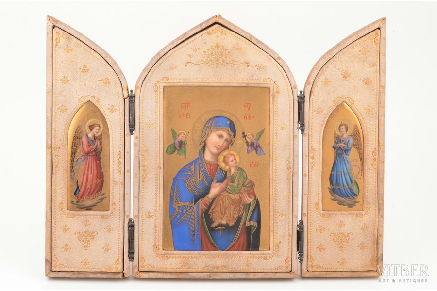 icon with foldable side flaps, Mother of God, painting, guilding, porcelain, leather, Russia, 24 x 31.4 x 1.3 cm, size in filded position 24 x 15.4 x 2.7 cm