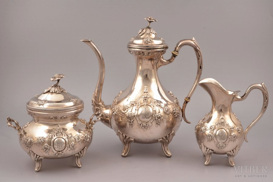 service of 3 items: coffeepot, sugar-bowl, cream jug, silver, 800 standart, 1218.90 g, (coffeepot) 565.45 g + (sugar-bowl) 437.75 g + (cream jug) 215.70g, Belgium, 25 / 15.7 / 14.8 cm