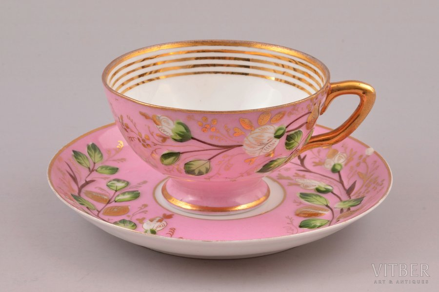 tea pair, porcelain, M.S. Kuznetsov manufactory, Russia, 1864-1889, Ø (saucer) 14.3 cm, h (cup)  5.3 cm, Dulevo factory; chip on the edge of saucer