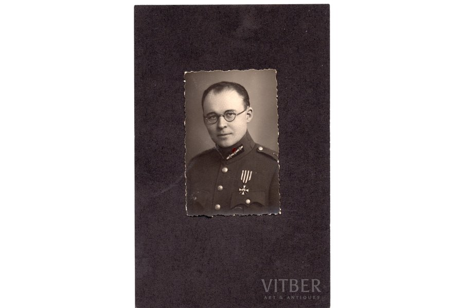 photography, on cardboard, chevalier of the order of Bearslayer, Verners Pēterītis, Latvia, 20-30ties of 20th cent., 6,8x4,3 cm