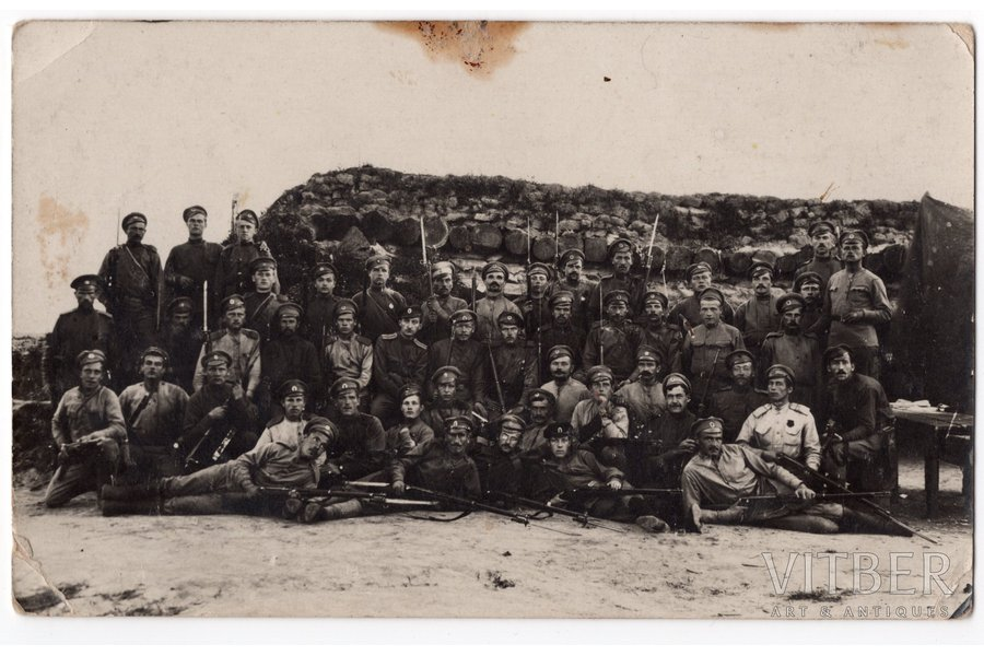 photography, Latvian Riflemen, on the positions - front line photo, Latvia, Russia, beginning of 20th cent., 14x8,8 cm