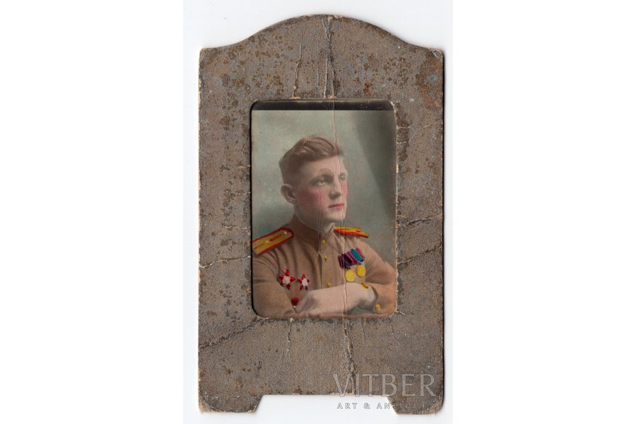 photography, officer, (colored, in cardboard frame), USSR, 40ties of 20th cent., 8,5x4,5 cm
