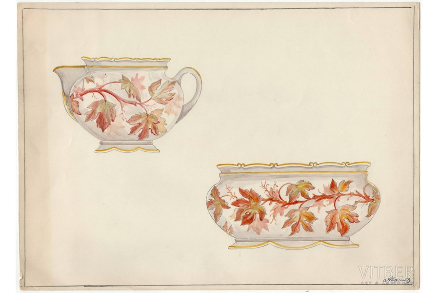 sketch, technical specifications, Rīga porcelain factory, Riga (Latvia), USSR, the 50ies of 20th cent., 28.6 x 39.7 cm, folder is not included in the lot