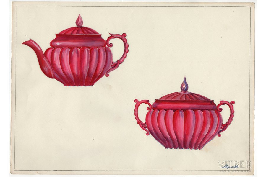sketch, technical specifications, Rīga porcelain factory, Riga (Latvia), USSR, the 50ies of 20th cent., 28.5 x 40.2 cm, folder is not included in the lot