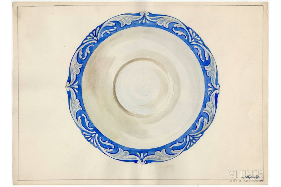 sketch, technical specifications, Rīga porcelain factory, Riga (Latvia), USSR, the 50ies of 20th cent., 28.6 x 39.8 cm, folder is not included in the lot