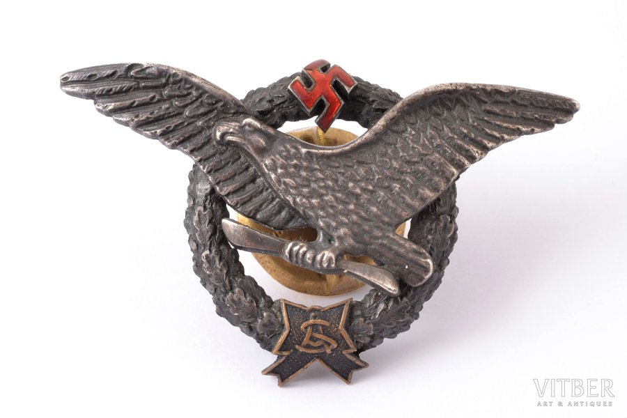 badge, Military Aviation School, silver, enamel, Latvia, 20-30ies of 20th cent., 42 x 67.4 mm, micro chip on the enamel