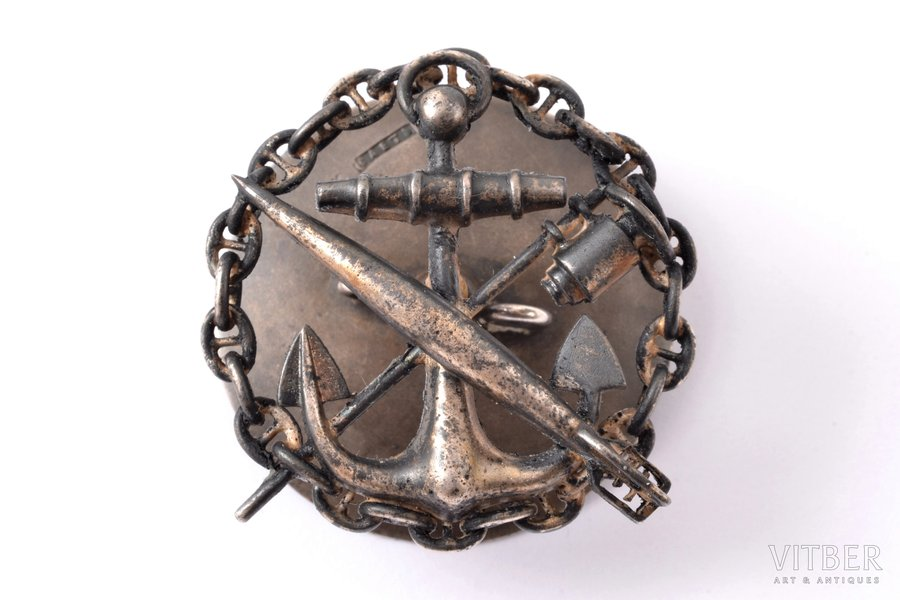 badge, For the graduation of the course in the officer mine class of the Marine department, Russia, 39.5 x 38.5 mm, nut - silver, 84 standard, by silversmith Saet, 1899-1908