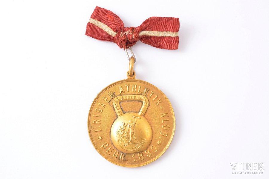 medal, sport, Rigaer Athletik-Klub (Riga Athletics Club), 1st place, weightlifting, Latvia, Russia, 1890, 42.9 x 38.7 mm