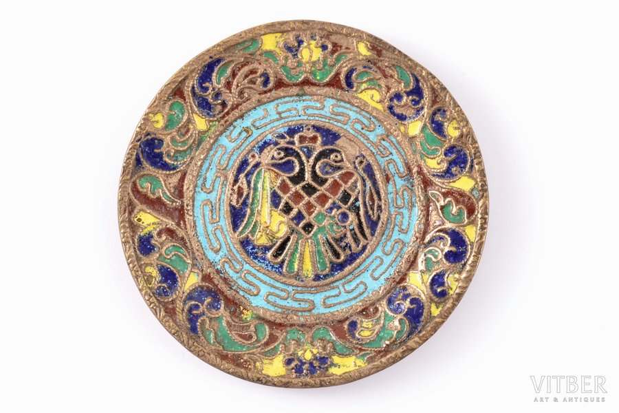 decorative plate, metal, cloisonne enamel, the beginning of the 20th cent., Ø 10.5 cm
