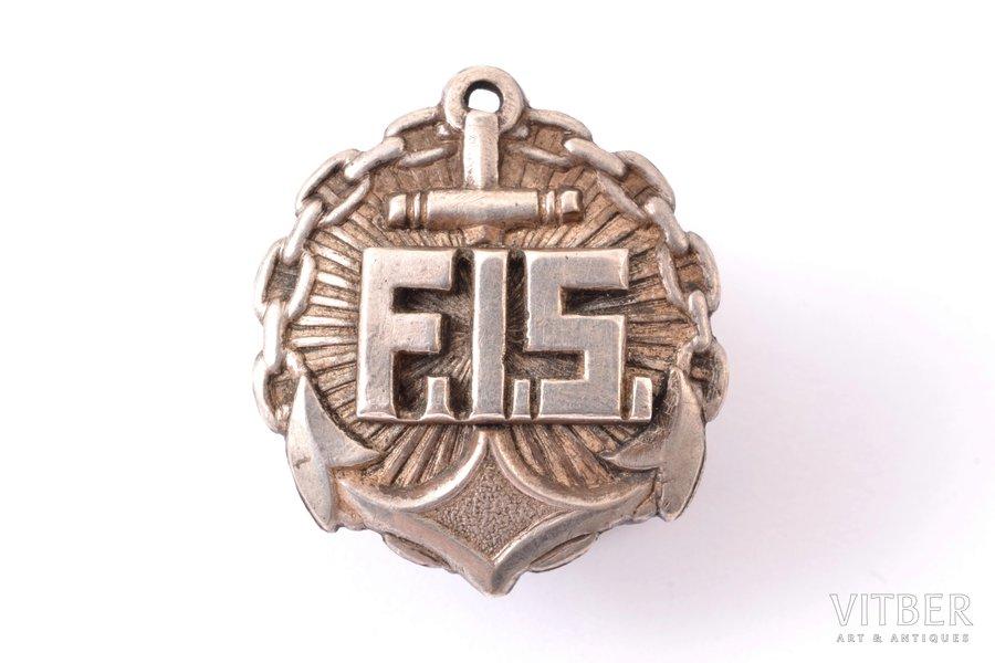 badge, Fleet Instructor School (F.I.S.), medium size, Latvia, 20-30ies of 20th cent., 22.4 x 19.9 mm