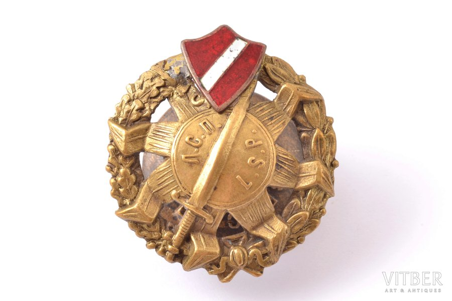 badge, Latvian Riflemen regiment, LSP, coat of arms of Russian Empire is replaced with flag of Latvia, Russia, beginning of 20th cent., 41.4 x 37.2 mm