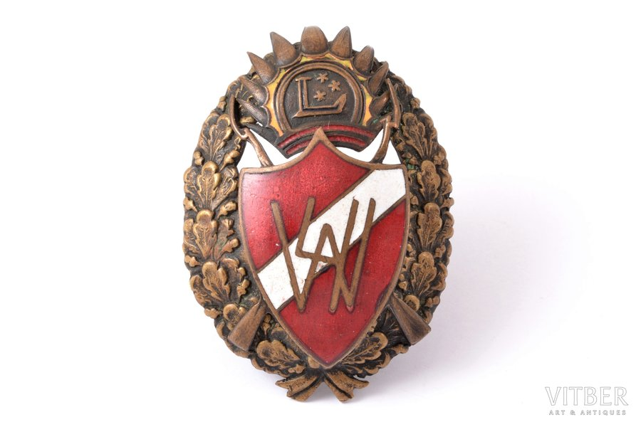badge, 4th Valmiera Infantry Regiment (1st type), Latvia, the 30ies of 20th cent., 57 x 40.6 mm