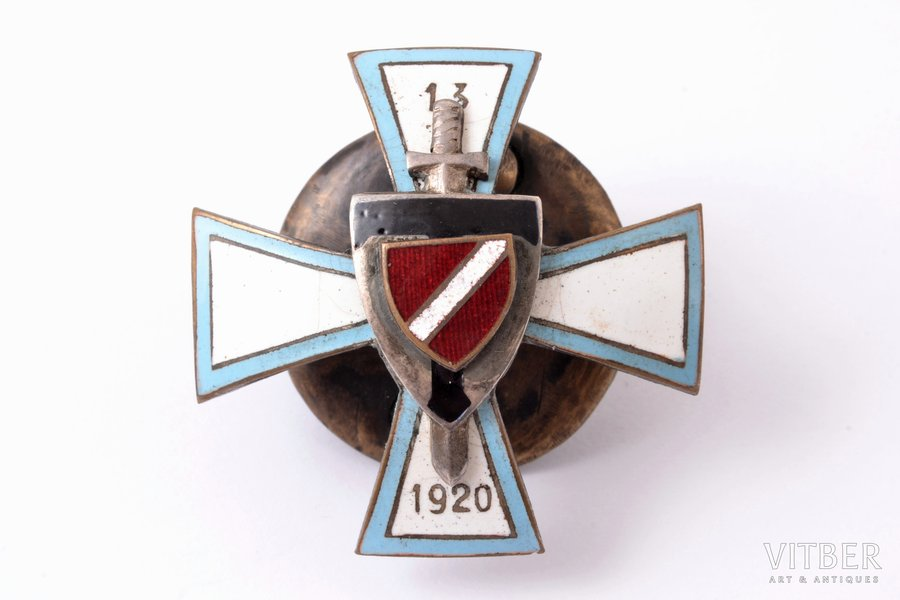 badge, 13th Tukums Infantry Regiment, Latvia, the 30ies of 20th cent., 39.4 x 39.6 mm