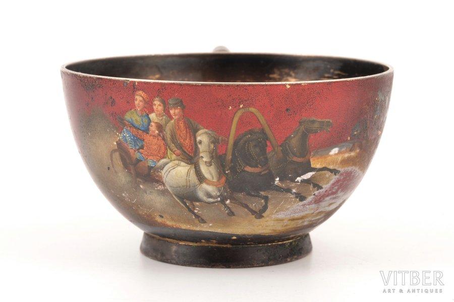 """teacup, silver, 84 standart, """"Troika"""", painted enamel, 1896-1907, 83.90 g, workshop of Vasiliy Kangin, St. Petersburg, Russia, h 4.2 cm"""