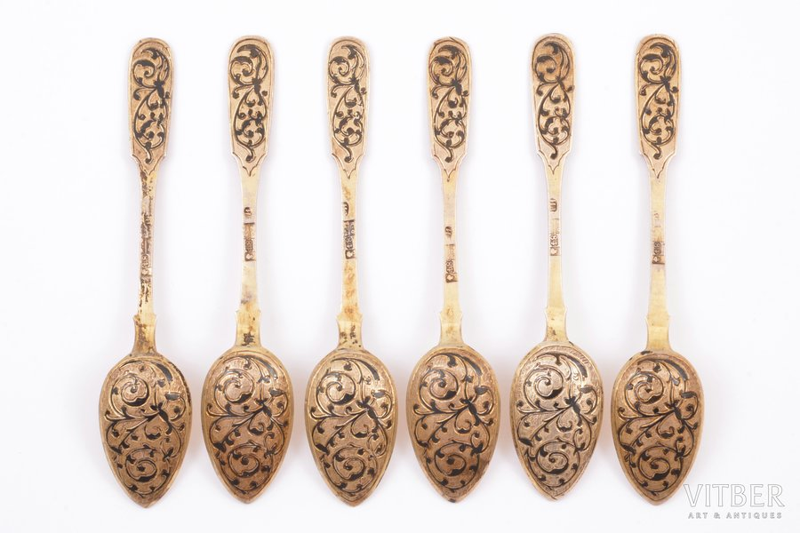 set of 6 teaspoons, silver, 84 standart, niello enamel, gilding, 1866, total weight of items 114.05g, Moscow, Russia, 13 cm