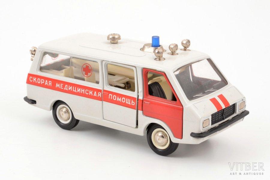 """car model, RAF M-22031 Nr. A27, """"Ambulance"""", metal, USSR, ~ 1985"""