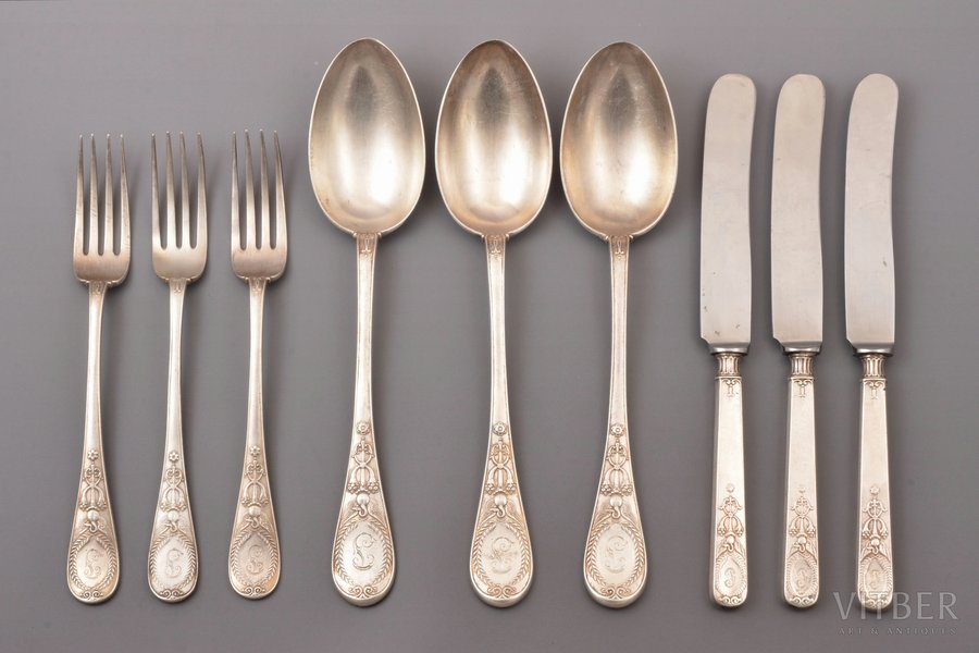 """flatware set, 3 spoons + 3 forks + 3 knives, silver, 84 standart, knives: silver/metal, 1896-1907, total weight of 3 spoons and 3 forks 482.90 g; total weight of 3 knives 221.15g, """"Fabergé"""", Moscow, Russia, 22 / 21.5 / 18.5 cm"""