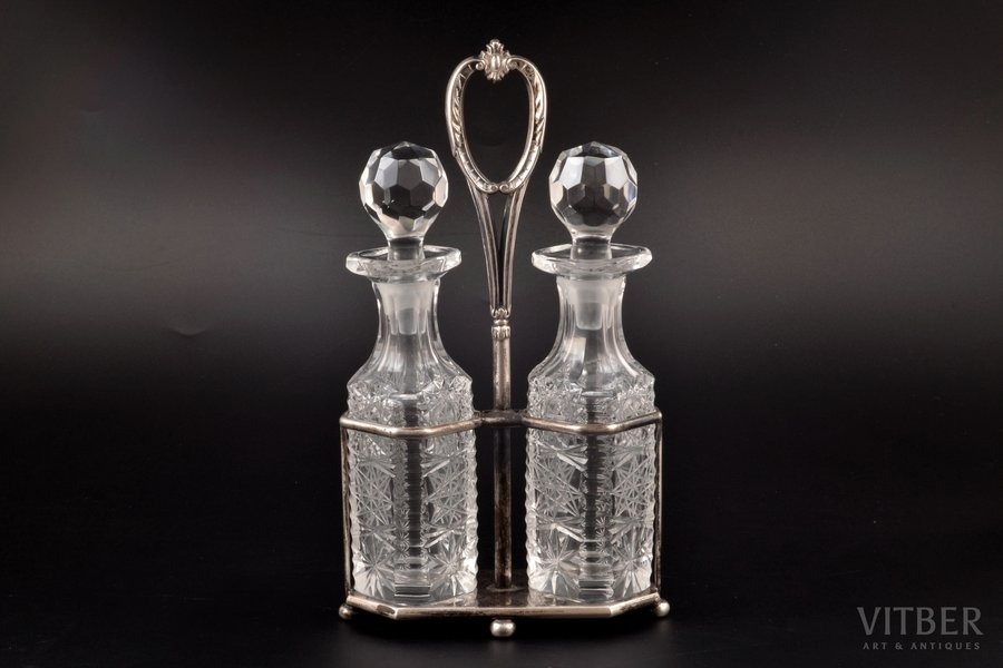 oil and vinegar cruet set, silver, 84 standart, glass, 1880-1890, weight of silver stand 177.10g, Riga, Russia, h 24 cm