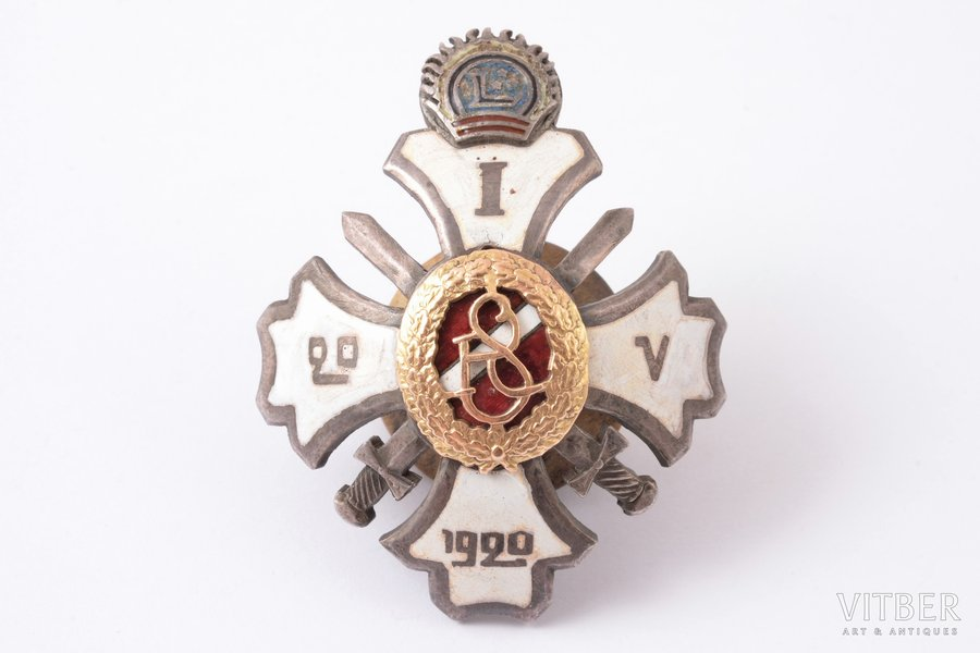 badge, 1st graduation of the Military school, Latvia, 20ies of 20th cent., 51 x 40.4 mm
