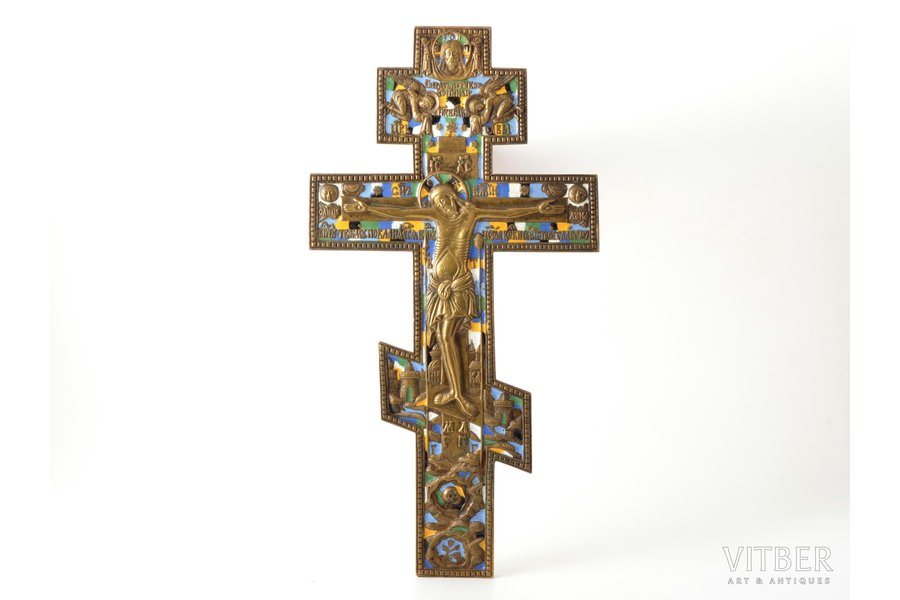 cross, The Crucifixion of Christ, copper alloy, 6-color enamel, Russia, 1257.4, 36.5 x 19.2 x 0.9 cm, Moscow