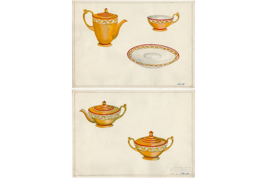 sketch, technical specifications, 2 sheets, Rīga porcelain factory, Riga (Latvia), USSR, the 50ies of 20th cent., 28.6 x 39.9 cm, folder is not included in the lot