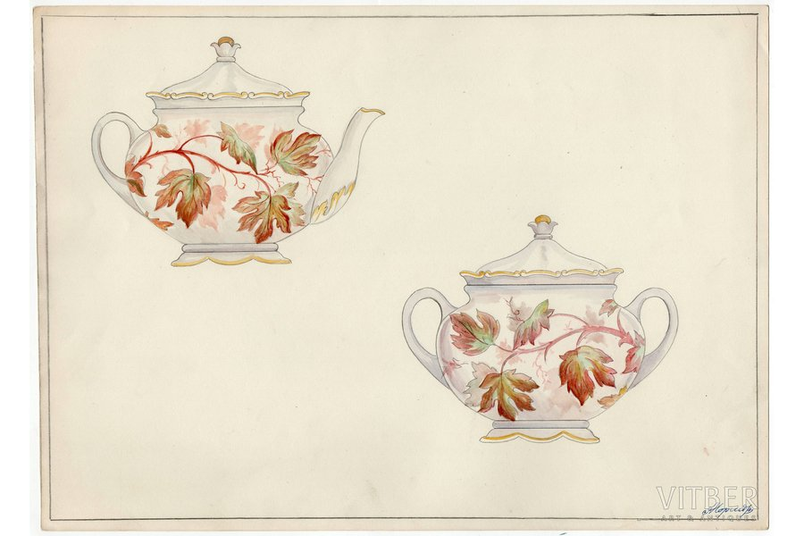 sketch, technical specifications, Rīga porcelain factory, Riga (Latvia), USSR, the 50ies of 20th cent., 28.6 x 39.6 cm, folder is not included in the lot