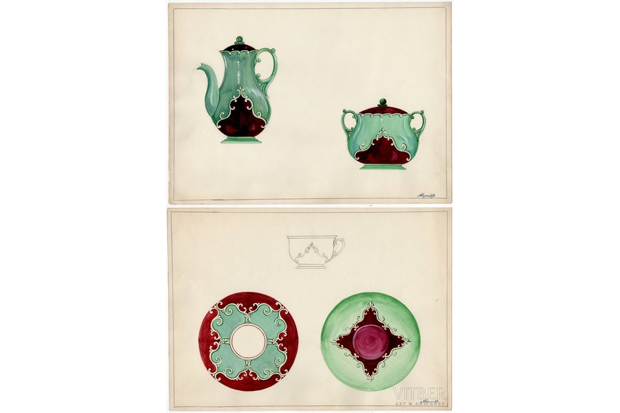 sketch, technical specifications, 2 sheets, Rīga porcelain factory, Riga (Latvia), USSR, the 50ies of 20th cent., 28.7 x 39.7 cm, folder is not included in the lot