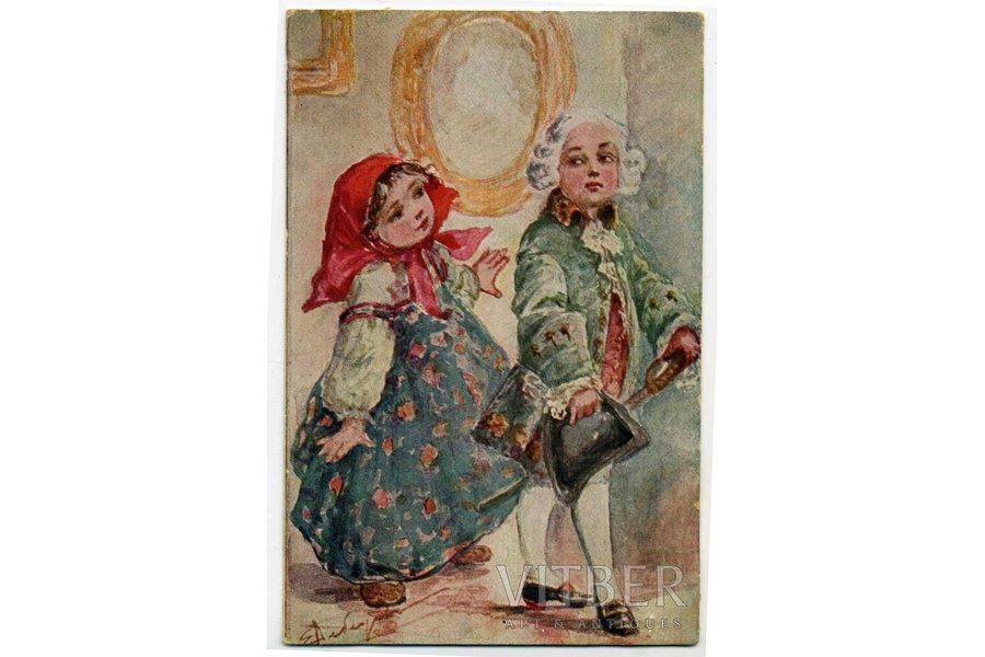 postcard, by artist Lebedeva, Russia, beginning of 20th cent., 14x9 cm