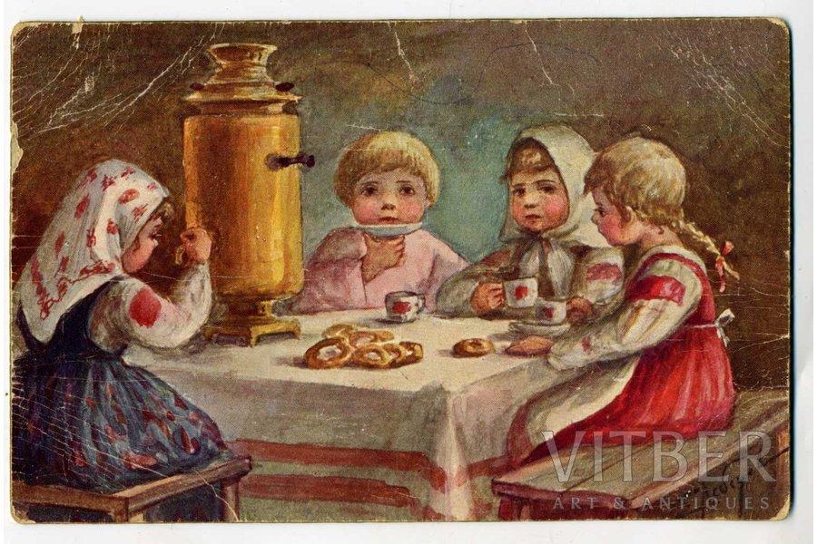 postcard, by artist Lebedeva, Russia, beginning of 20th cent., 13,8x8,8 cm
