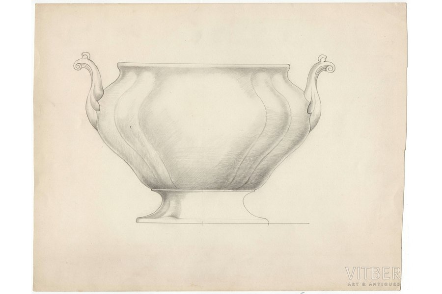 sketch, technical specifications, Rīga porcelain factory, Riga (Latvia), USSR, the 50ies of 20th cent., 28.5 x 36.4 cm, folder is not included in the lot