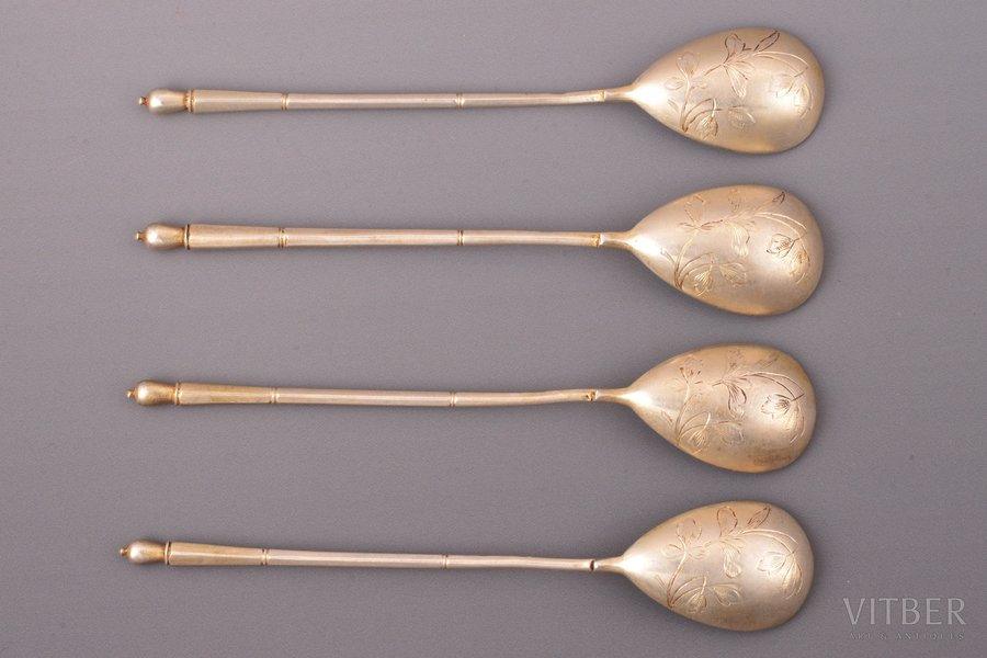 set of 4 dessert spoons, silver, 84 standart, engraving, 1896-1907, total weight of items 94.25g, by Nikolay Pavlov, Moscow, Russia, 14.8 cm